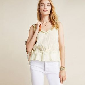 NWT Anthropologie Cloth & Stone Linen Peplum Top S